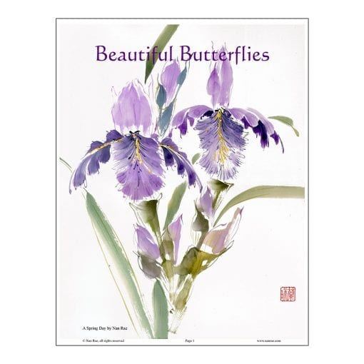 Iris Brush Painting Class Lesson by Nan Rae