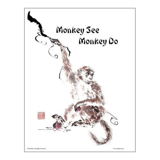 Monkey Brush Painting Class Lesson by Nan Rae