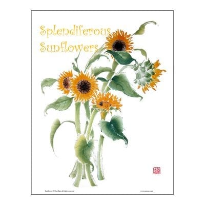 Sunflower Brush Painting Class Lesson by Nan Rae