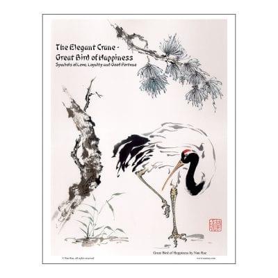 Crane Brush Painting Class Lesson by Nan Rae