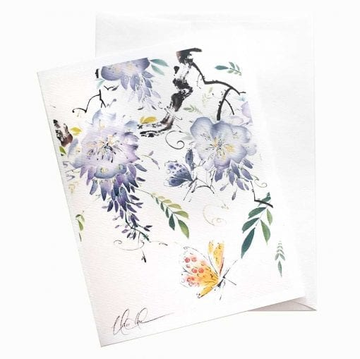 18-50 Wisteria with Butterfly Card by Nan Rae