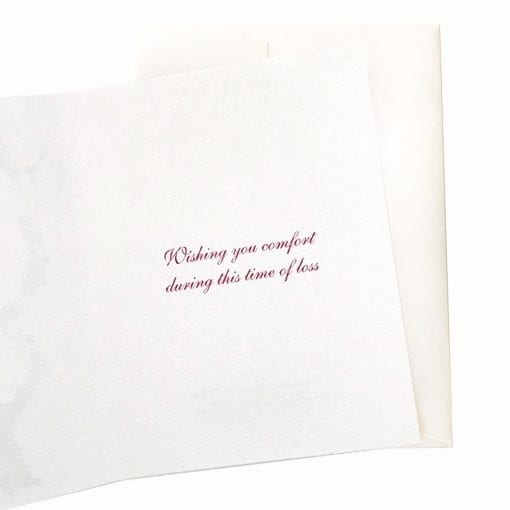 Gentleman Plum Sympathy Card Inside Message