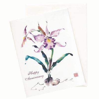 19-28A Cattleya Waltz Anniversary Card by Nan Rae