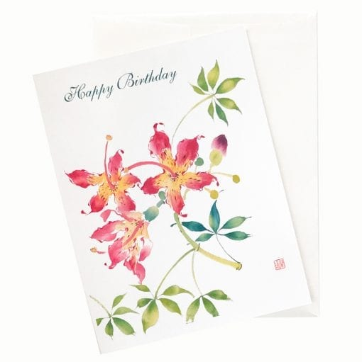 19-48B Silk Floss Flower Birthday Card by Nan Rae