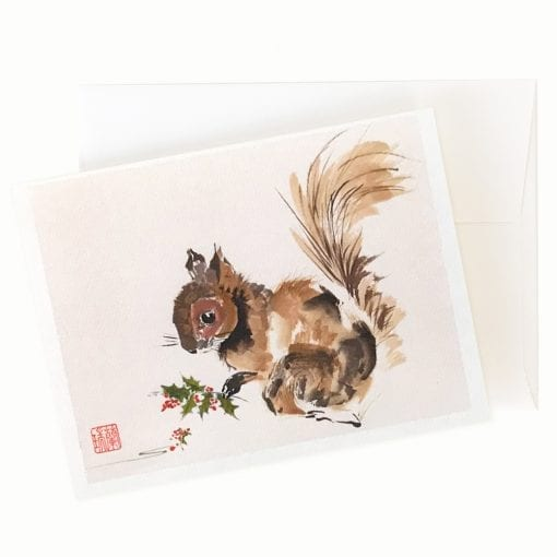 17-07 My Favorite Time (Squirrel) Holiday Card by Nan Rae