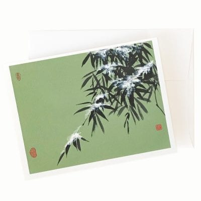 Snowy Bamboo Holiday Card by Nan Rae