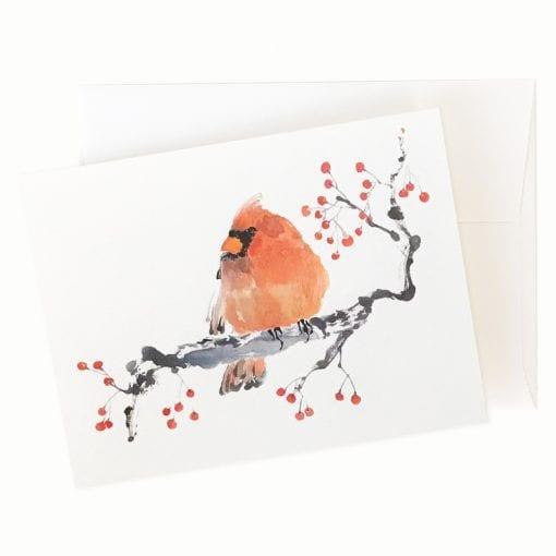 Winter Berries (Cardinal) Card by Nan Rae
