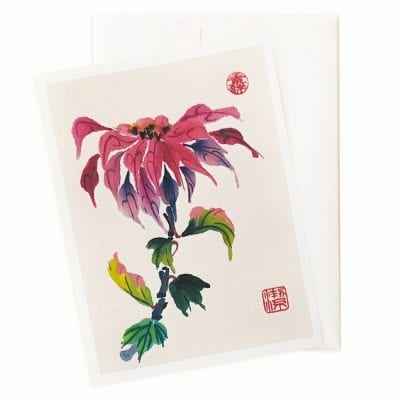 17-27 Poinsettia Candy Holiday Card by Nan Rae