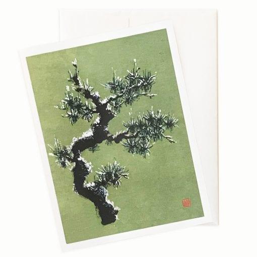 Snowy Pine Holiday Card by Nan Rae