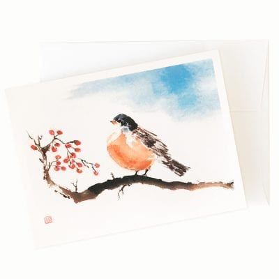 Christopher Robin Holiday Card by Nan Rae
