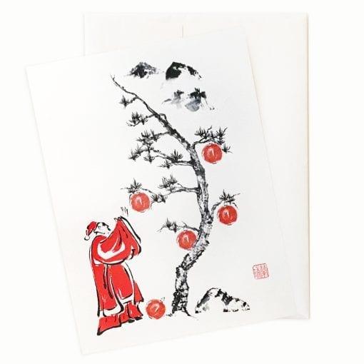 Santa Trims the Tree Holiday Card by Nan Rae