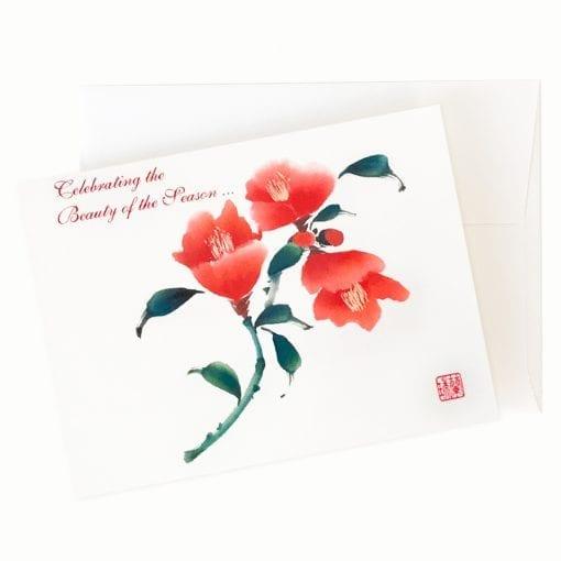 Camellia Cheer Holiday Card by Nan Rae