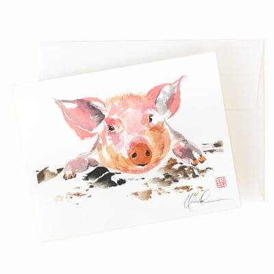 22-44 Pinky Piggy Card by Nan Rae