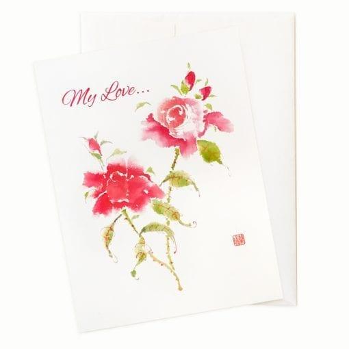27-04V Floral Studies - Roses IV Valentines Card by Nan Rae