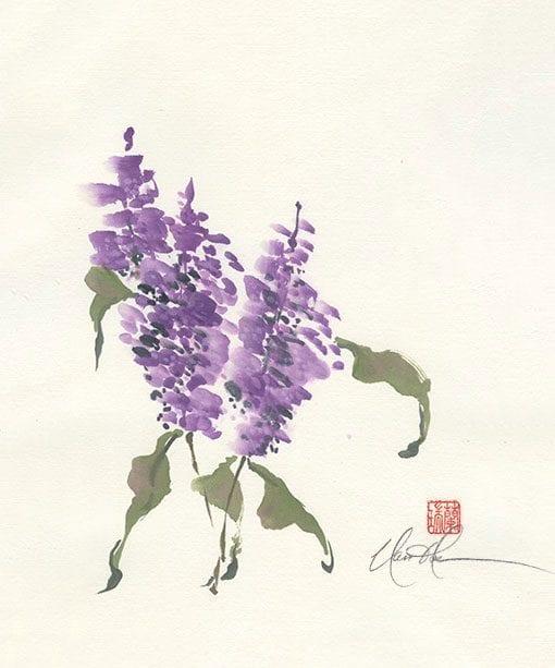 An Original Lilac painting by Nan Rae
