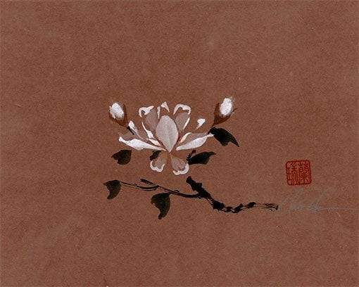 An Original White Magnolia painting by Nan Rae