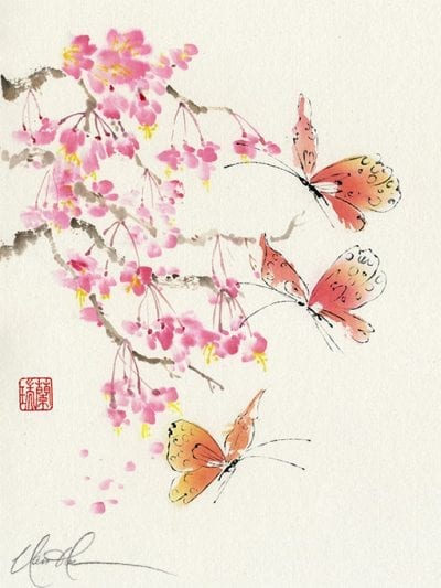 An Original Cherry Blossoms and Butterflies Brush painting by Nan Rae