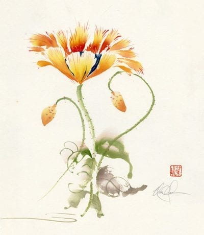 An Original Poppy Brush painting on Mulberry paper by Nan Rae