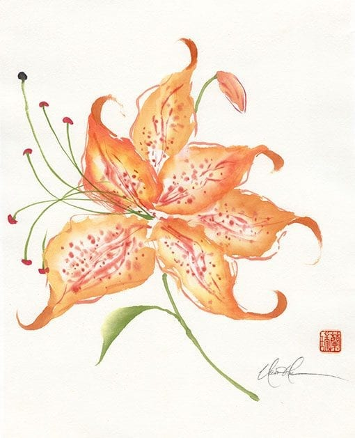An Original Tiger Lily Brush painting by Nan Rea
