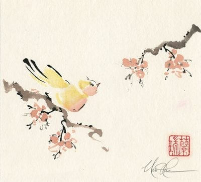 Bird on Plum painting