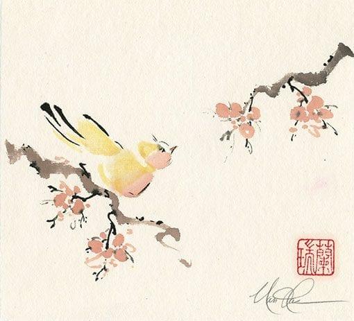Bird on Plum painting