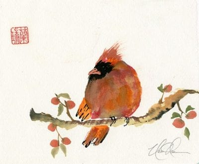 Bird on Persimmon branch painting