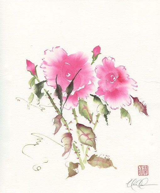 Roses Brush painting