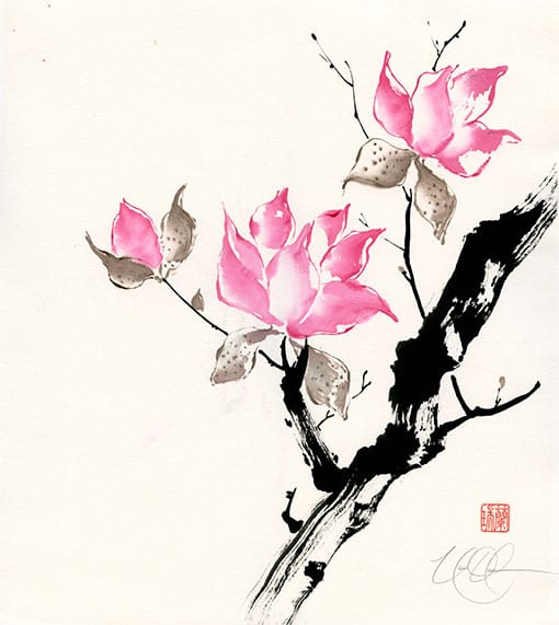 Chinese Magnolia Brush painting by Nan Rae