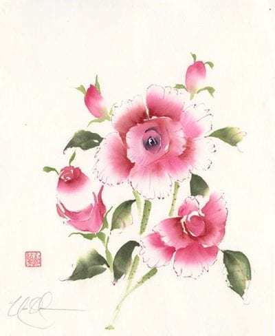 Roses Original Brush painting by Nan Rae