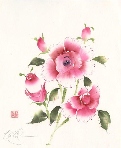 Roses Original Brush painting by Nan Rae
