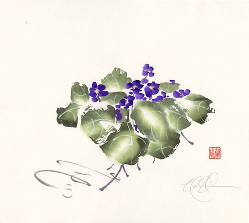 Violets Brush Painting by Nan Rae