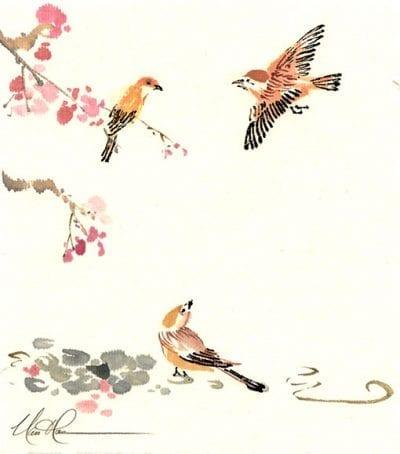 Original Birds and Plum painting by Nan Rae