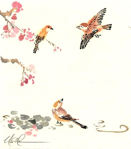 Original Birds and Plum painting by Nan Rae