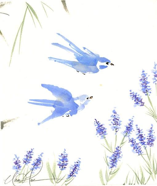 Birds Brush painting by Nan Rae