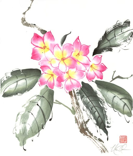 plumeria painting by Nan Rae