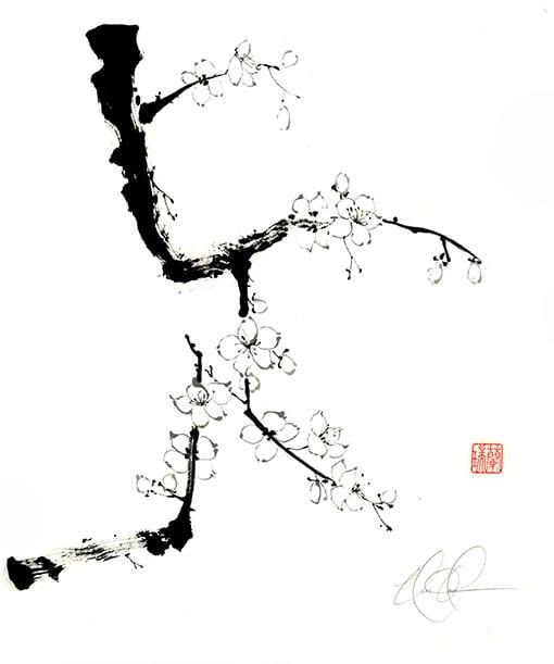 Original Plum Ink painting by Nan Rae